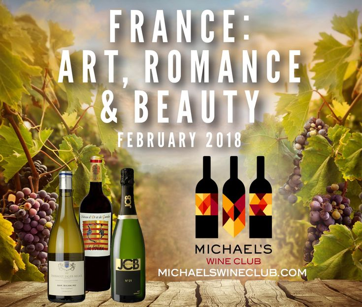 """You're invited to join the ultimate club! Michael's Wine Club https://www.michaelswinecellar.com/wine-shop/wine-club  Month of February: France: Art, Romance & Beauty  Bourgogne Blanc """"Les Charmes"""", Thibault Liger-Belair, FR, 2014 Chateau d'Or et de Gueules """"La Bolida"""", Costieres de Nimes, FR, 2013 Sparkling Cremant de Bourgogne """"JCB No. 21"""", Jean-Charles Boisset, FR, NV  Offering three-bottle monthly themed packages featuring boutique wines, Michael's Wine Club is $60 a month plus tax and…"""