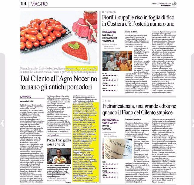 Il nostro antico #pomodoro su Il Mattino di Napoli #giornale