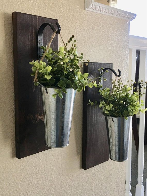 Galvanized Metal Hanging Planter With Greenery Or Flowers Metal Hanging Planters Galvanized Wall Decor Rustic Wall Decor