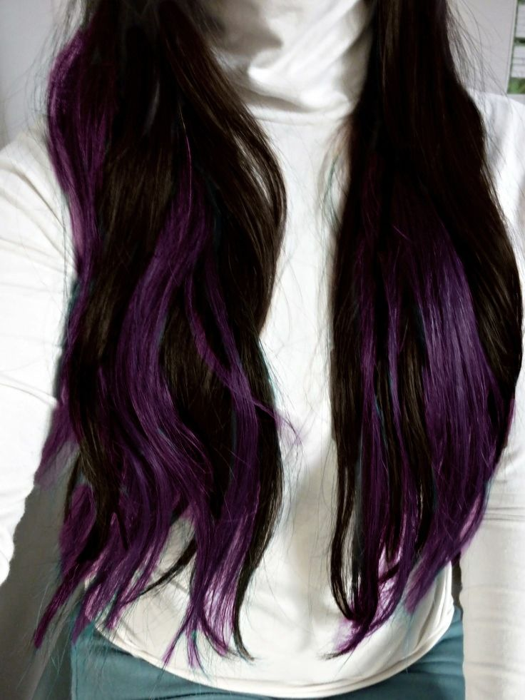 Dark brown hair with purple underneath | hair | Pinterest ...