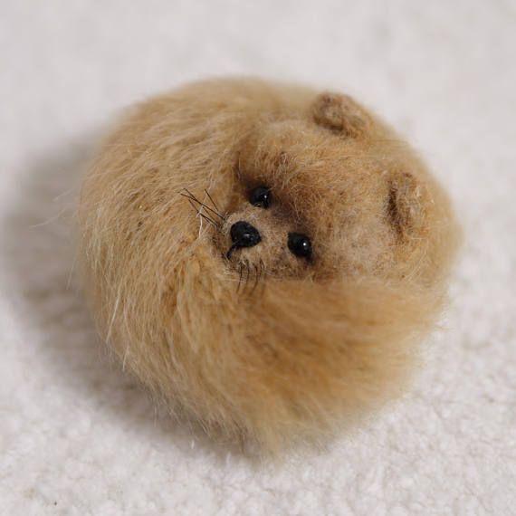 Perro Pomerania spitz perro perro broche lana Pin cachorro