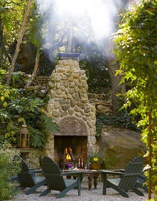 Outside fireplace: Adirondack Chairs, Stones Fireplaces, Outdoor Living, Rivers Rocks, Outside Fireplace, Rocks Fireplaces, Outdoor Fireplaces, Outdoor Spaces, Fire Pit