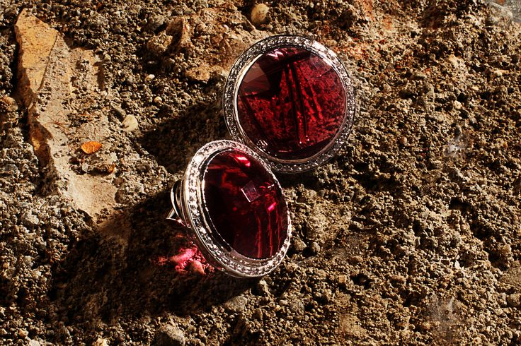 Hot Buttons:  Semi-precious pink tourmaline and simulated diamonds, set in silver with a platinum overlay.