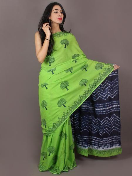 Mint Green Indigo Hand Block Printed & Shiori Dyed Cotton Mul Saree - S031701025