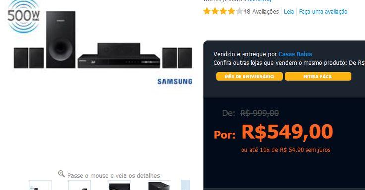 Home Theater Samsung HT-F4505/ZD 5.1 Canais com Blu-ray Player 3D, Rádio FM, Entrada USB, Cabo HDMI e Lê DVD >