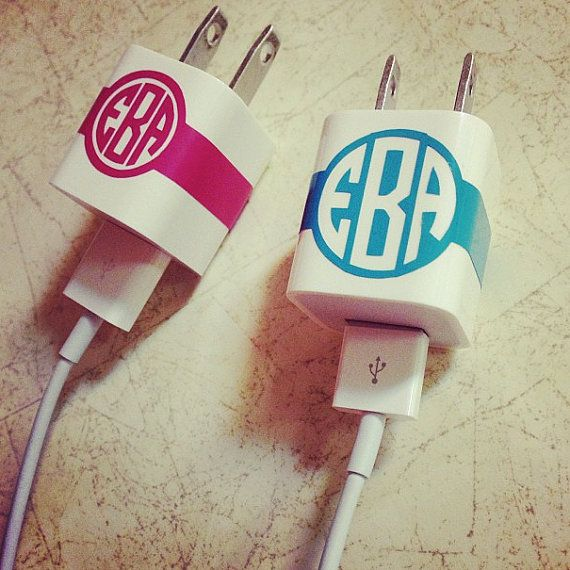 Sick of people claiming YOUR charger is THEIR charger - finally you can label your charger in a cute way! - iPhone Charger Monogram Sticker