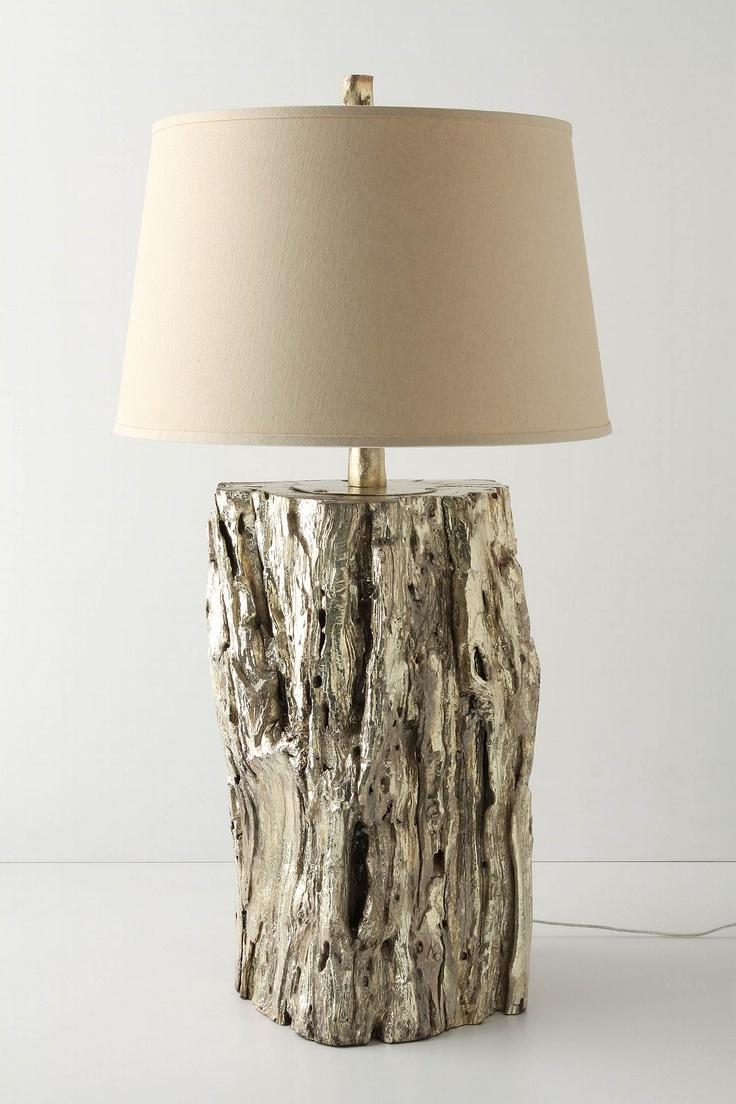 shiny metallic gold repurposed wood lamp    cool!    ...tho' I think I might like the plain wood!