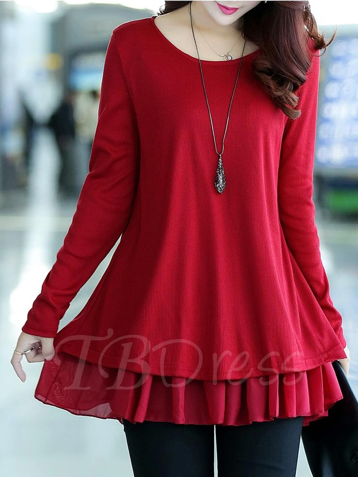 Tbdress.com offers high quality Mid-Length Double-Layer Women's Knitwear Blouses unit price of $ 15.99.