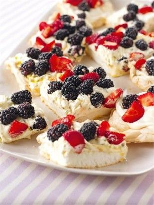 Forgotten Pudding (Pavlova) by Nigella. So delicious! It's an English dessert, but would make a great 4th of July dessert by arranging berries in a USA flag design.