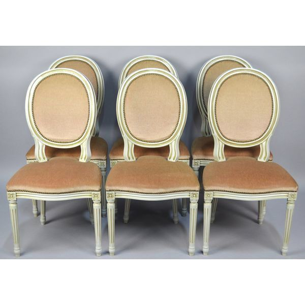 Six French Louis XVI Style Balloon Back Fluted Legs Dinning Room Chairs