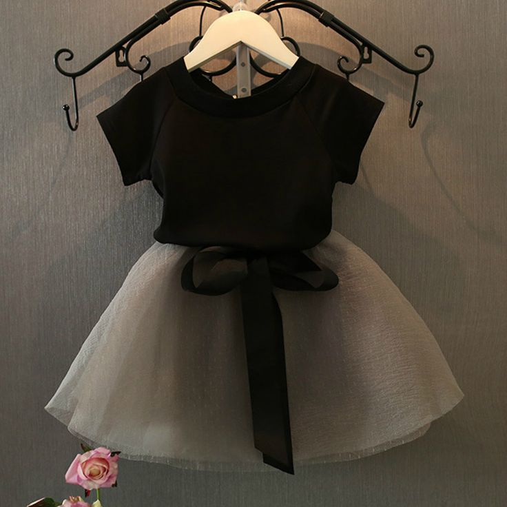 2016 Nuevas Muchachas de La Manera 2 unidades Camiseta + Faldas Del Vestido de bola del bebé tutú de las muchachas Niños de la falda Corta de Dos Piezas de la camiseta + faldas para chica(China (Mainland))