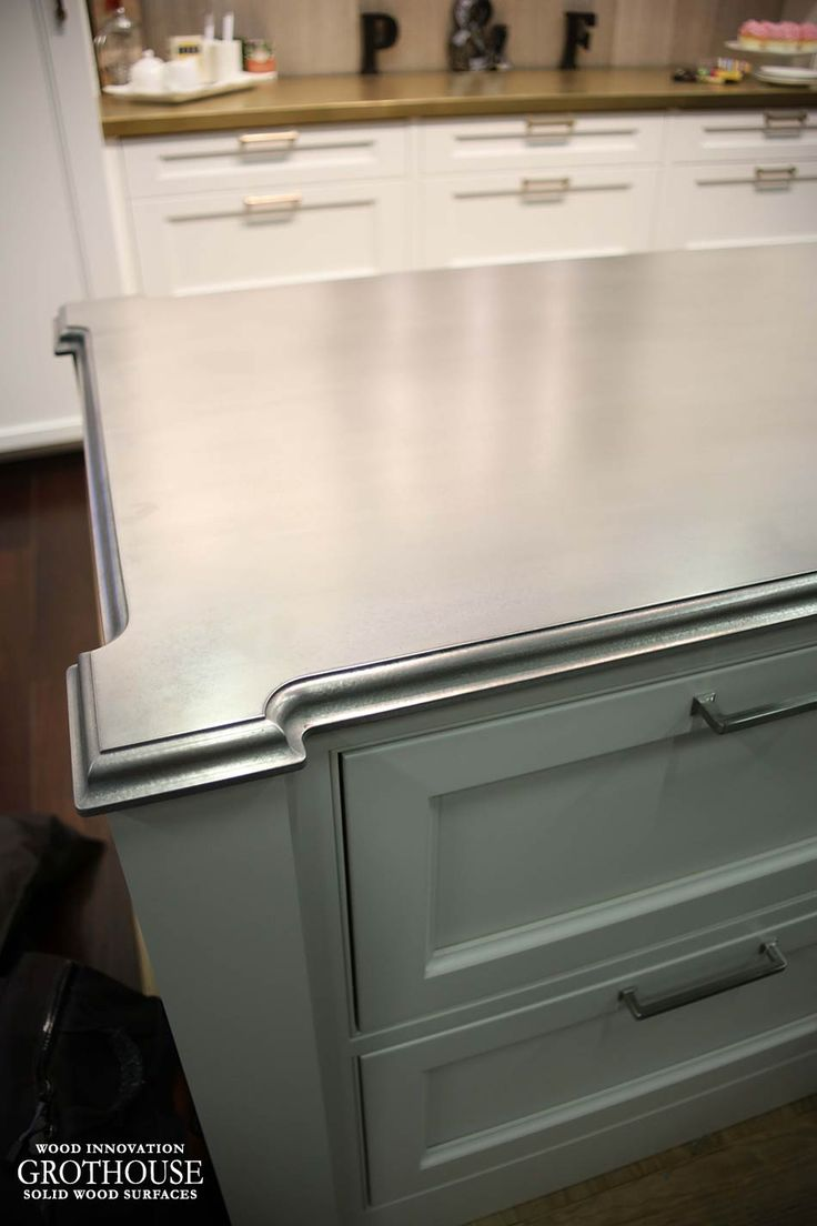 68 best anvil metal countertops by grothouse images on pinterest custom anvil palladium metal countertop for a kitchen that looks like a pewter countertop was displayed at the architectural digest design show 2016