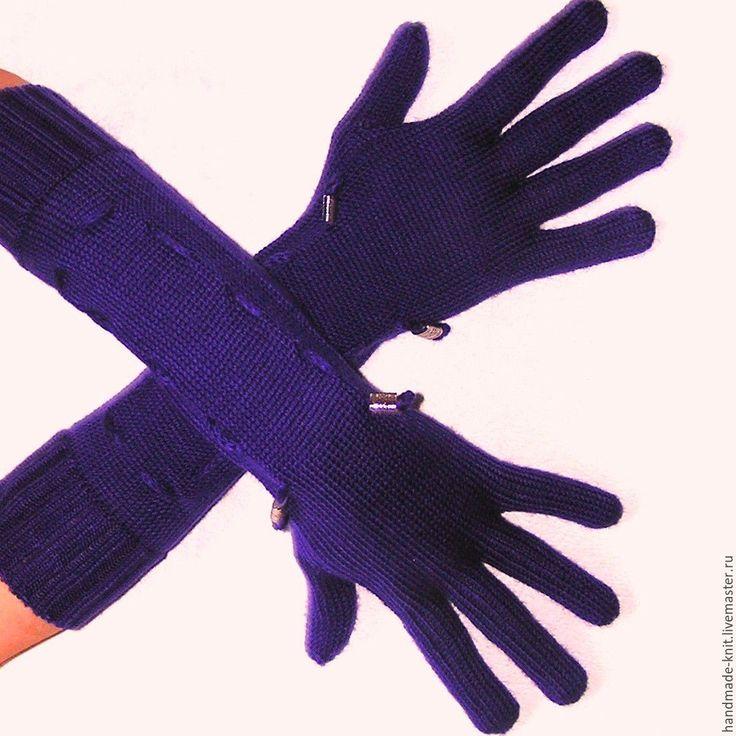 Купить Перчатки ярко-фиолетовые - перчатки, перчатки женские, перчатки вязаные, перчатки длинные