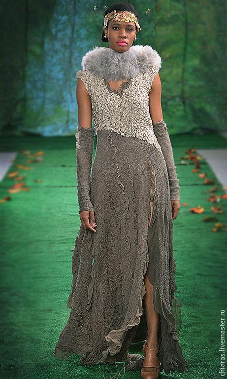 """Купить платье ручной работы из шерсти и шелка """"Красота в простоте"""" - оливковый, платье праздничное"""