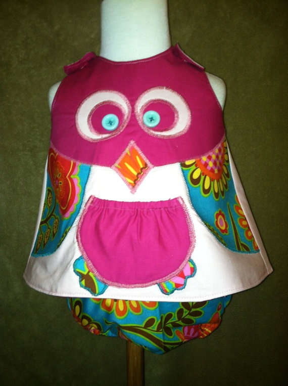 CHI OMEGAS! This is one of my friends who makes these! She has the CUTEST little girl clothes!!! Buy them :) Hoo Criss Crossed open back pinafore with by TwirlyThreads, $40.00