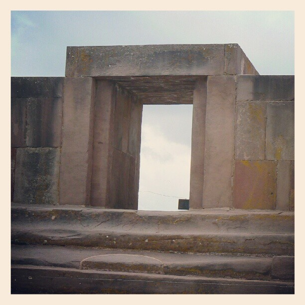 The steps into the sunken courtyard at Tiwanaku were cut from a single massive stone block.