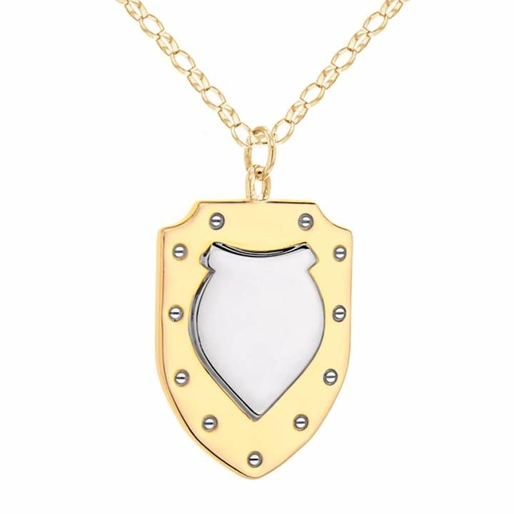True Rocks - Mini Two Tone Shield Necklace Gold & Silver