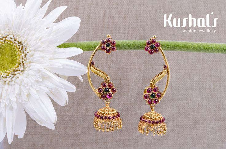 #Silver #TempleJewellery from #Kushals #FashionJewellery #Earrings Design No 50077