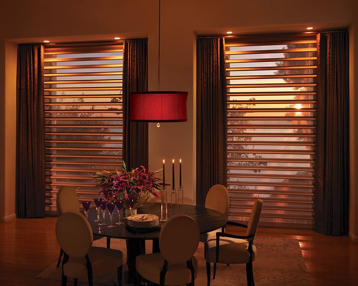 a dramatically delicious dining room window treatment pirouette window shadings hunter douglas window - Dining Room Blinds