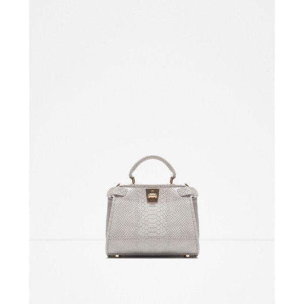 Zara Mini City Bag With Double Closure (€53) via Polyvore featuring bags, handbags, white mini bag, zara purse, mini handbags, zara handbags and mini bag