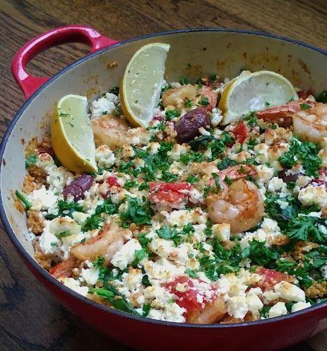 20 minute one-pan Mediterranean shrimp and couscous - lollipopsicle
