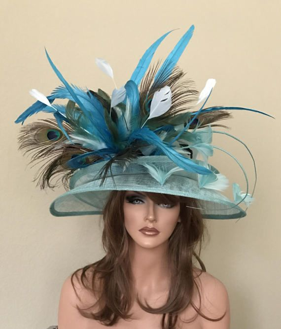 dcc95df4 Turquoise Blue Green Peacock Feathers Wide Brim Kentucky Derby Races Hat