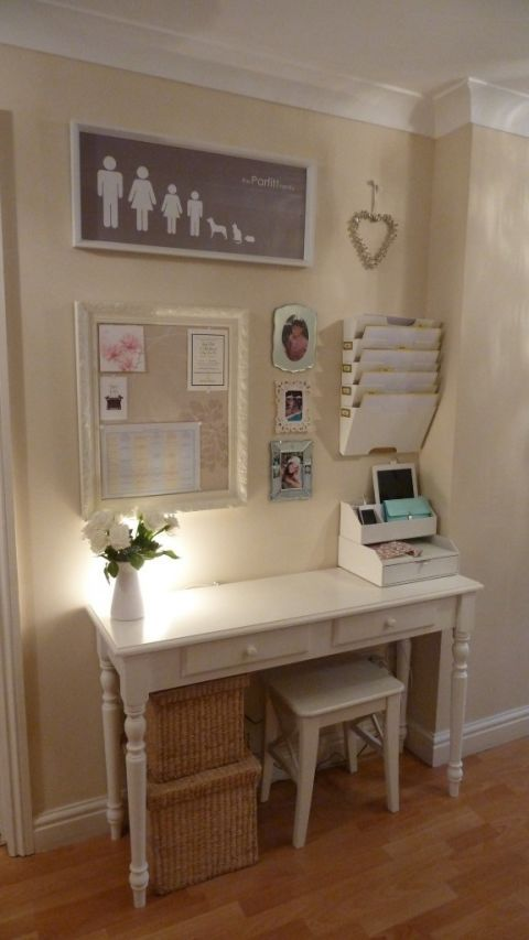 Tuck a narrow desk, mini stool, and hanging storage into a wide hallway to create a designated spot for paying bills and balancing your budget. That might not sound fun, but a pretty desk and an organized memo board can actually adds style to a bare spot. See more at Home Heart Harmony »