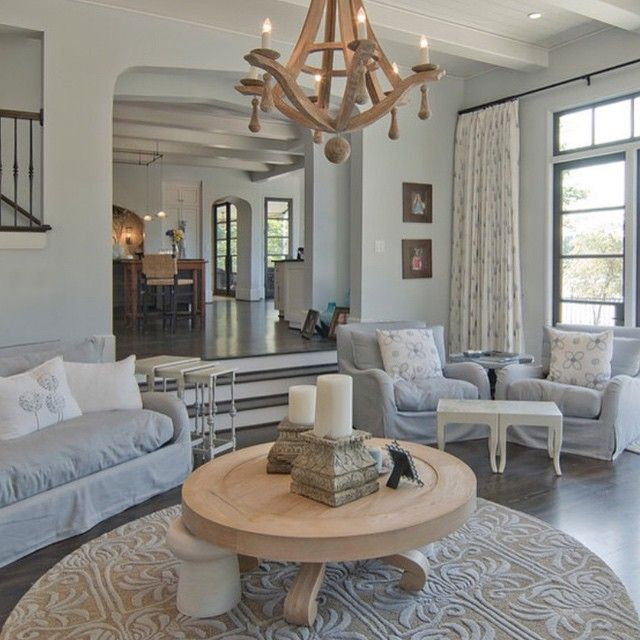 Living Room With Round Rug: Transitional Lakeside Living Room Completed By A Round