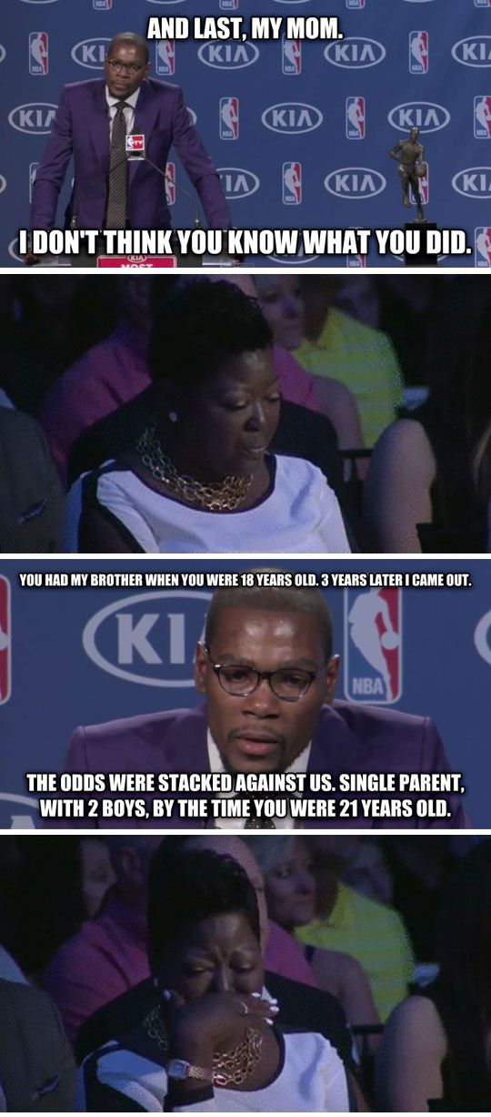 Kevin Durant And His Thank You MVP Speech I'm not even ashamed to say that I teared up.
