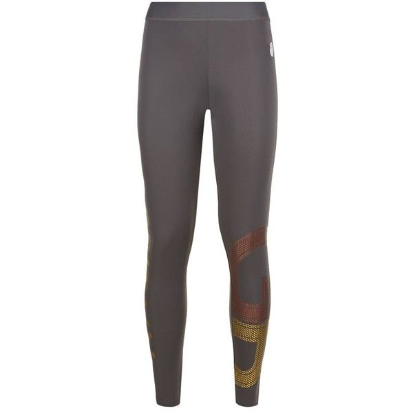 Adidas By Stella McCartney Team GB Gold Logo Cropped Tights ($60) ❤ liked on Polyvore featuring activewear, activewear pants, adidas originals and logo sportswear