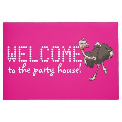 Happy Ostrich Dancing House Party Cartoon and Text Doormat - decor gifts diy home & living cyo giftidea