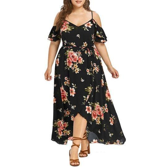 cd07ffc05c5 Summer Plus Size Flower Printed Spaghetti Strap dress