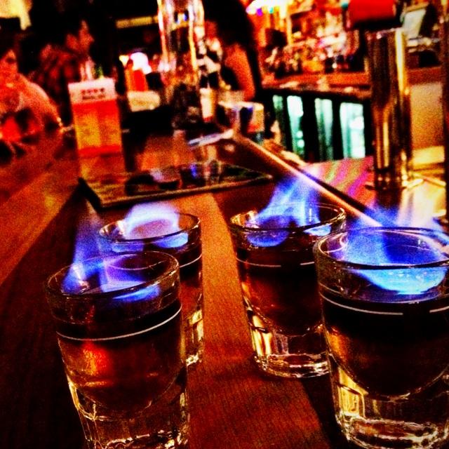 Flaming shots at Max Retro Pub downtown Tulsa.