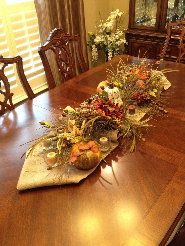 Harvest table centerpiece fall decor ideas