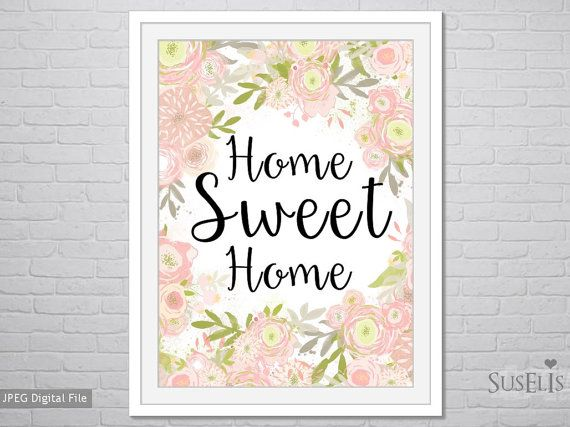 Watercolor Flower wall art Home Sweet Home Printable by Suselis