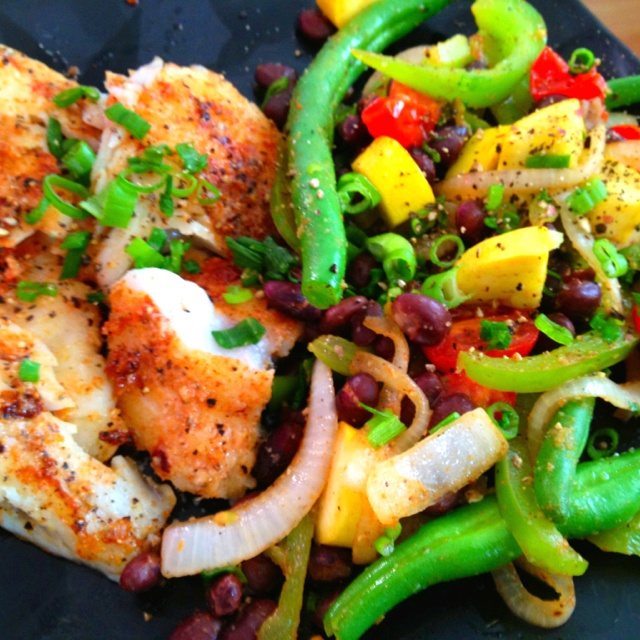 Mmm! Sautéed veggie and black bean mix with pan seared garlicky cod ...
