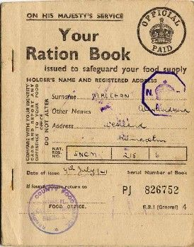 Ministry of Food Ration Book (1941). Stamped by Renfrewshire County Food Office. Includes instuctions on 'How to use your ration book'. Has a section for writing in the details of retialers that they would be registered with to supply; butter, bacon, sugar, cooking fats, meat.   BBC - WW2 People's War - Ration Book: Scotland