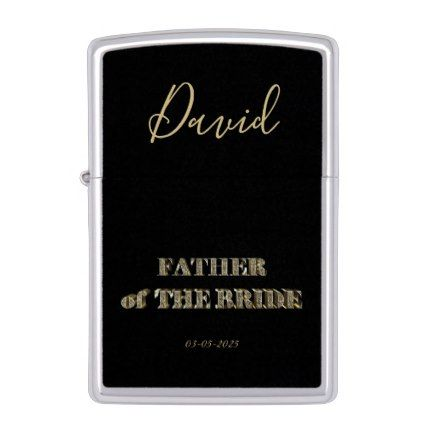 Father of The Bride Elegant Black Gold Typography Zippo Lighter - gold wedding gifts customize marriage diy unique golden