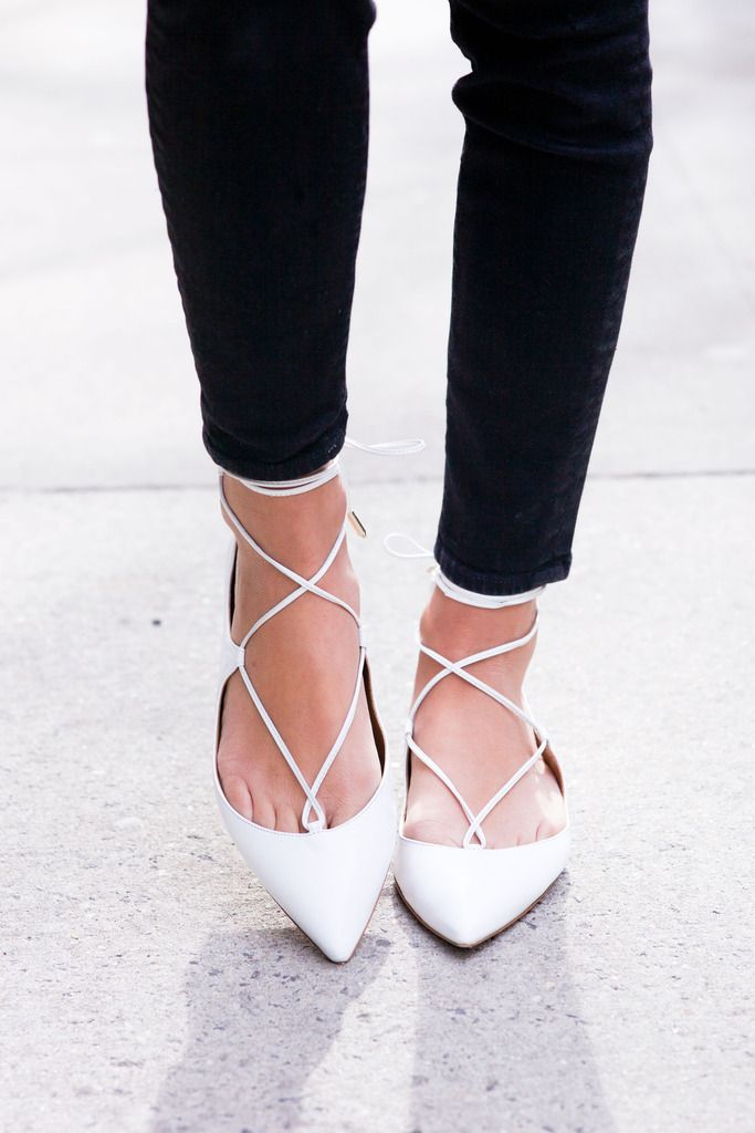 Aquazzura Pointy Lace Up Flats http://FashionCognoscente.blogspot.com