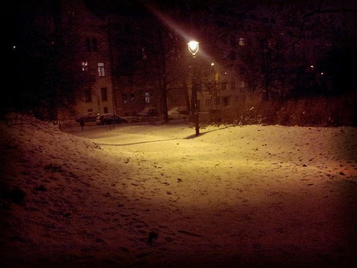 Lamp,alone in snow