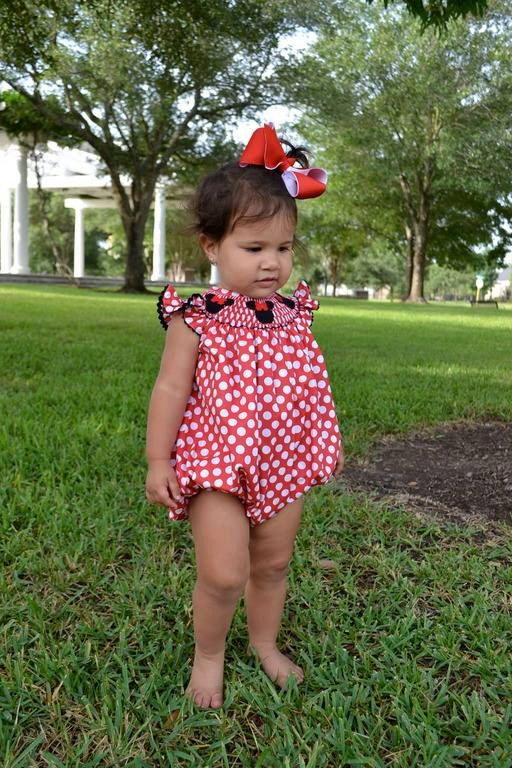 Red Polka Dot Smocked Mouse Bubble