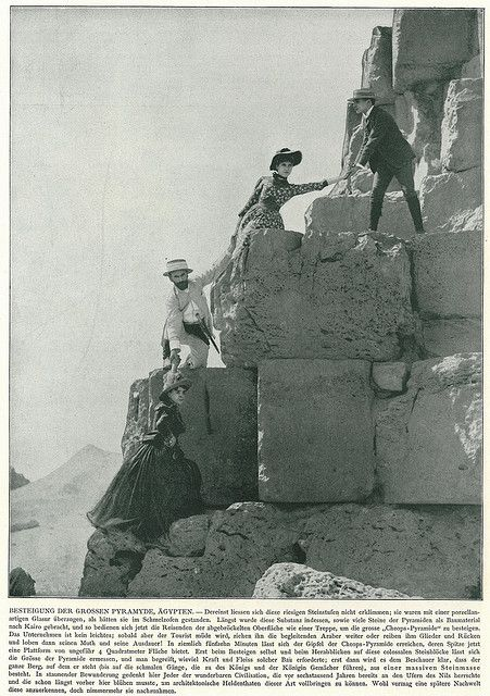 Climbing the pyramid of Cheops around 1900...these people were so lucky to experience this place at the turn of the century!!