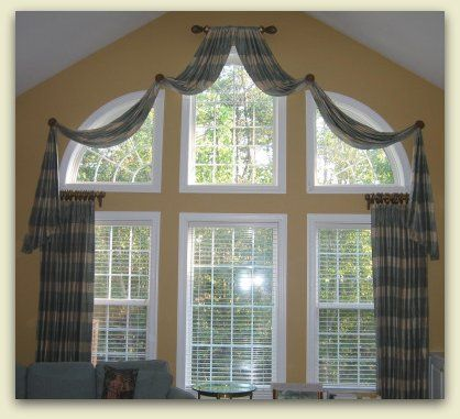 24 best images about window treatments on pinterest bay for Arched bay windows