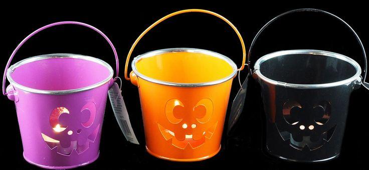 Set Of 3 Halloween Metal Pumpkin Mini Buckets - Tealight Candle holders  #DP #Halloween
