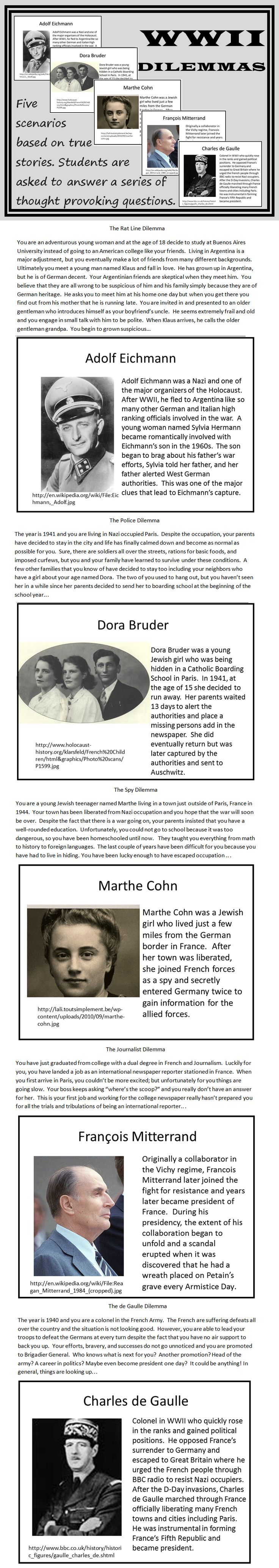 Great activity for World War II that forces students to think critically!  Students are given five scenarios that involve World War II, the Holocaust, and its aftermath. Then they are asked to answer a series of thought provoking moral questions. Each story is based on a true event and the real stories are also provided. Extension suggestions and a lesson plan are included.