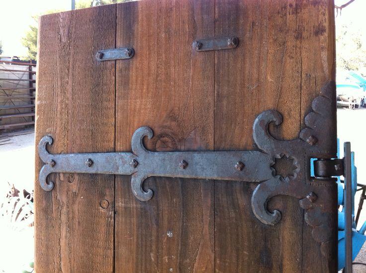 Iron gate strap.  Redwood gate.  Nice detail