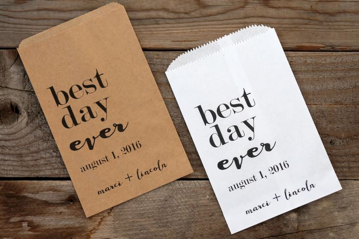 Best Day Ever Personalized Wedding Favor Bags - Candy Buffet, Popcorn Bar, Rehearsal Dinner, Engagement Party by GiveItPretty on Etsy https://www.etsy.com/listing/270834775/best-day-ever-personalized-wedding-favor