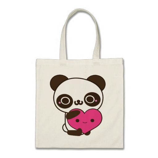 An adorably cute panda heart tote bag! Useful for shopping, school books, groceries etc. but could also make a great Valentine's Day gift!