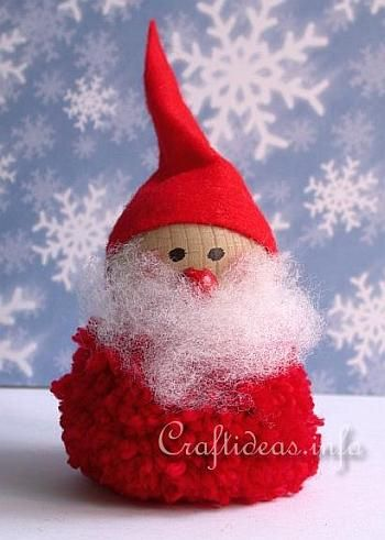 Christmas and Winter Crafts for Kids - Pom-Pom Santa Claus