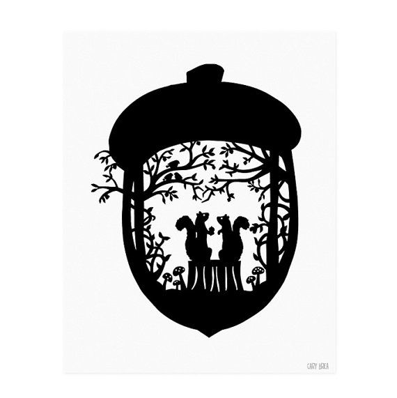 Squirrel Loves Acorn Paper Cutting Silhouette Art by CaryCanary